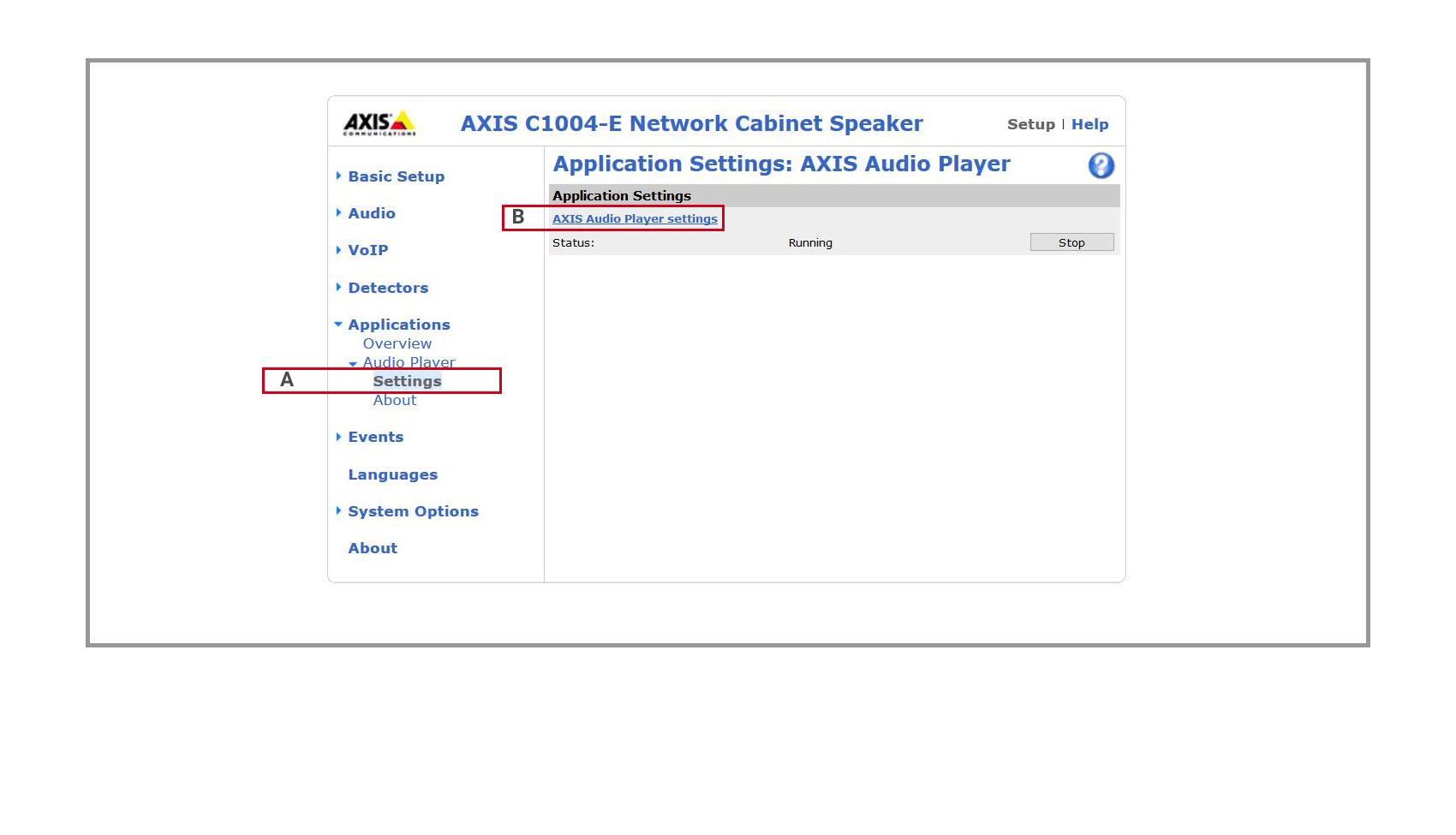 11 Axis Audio Player Settings