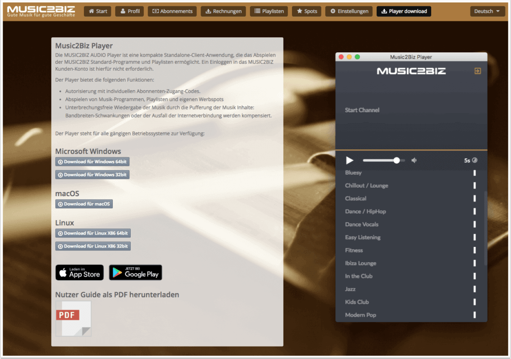 Download Seite für den MUSIC2BIZ Player