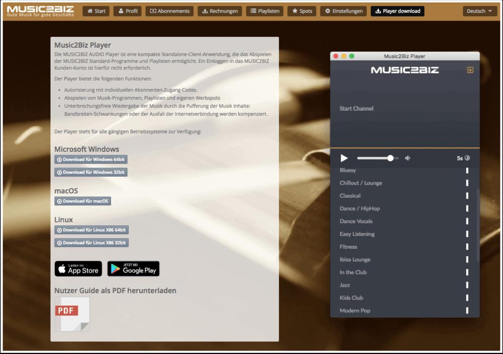 Download Seite für den MUSIC2BIZ Player