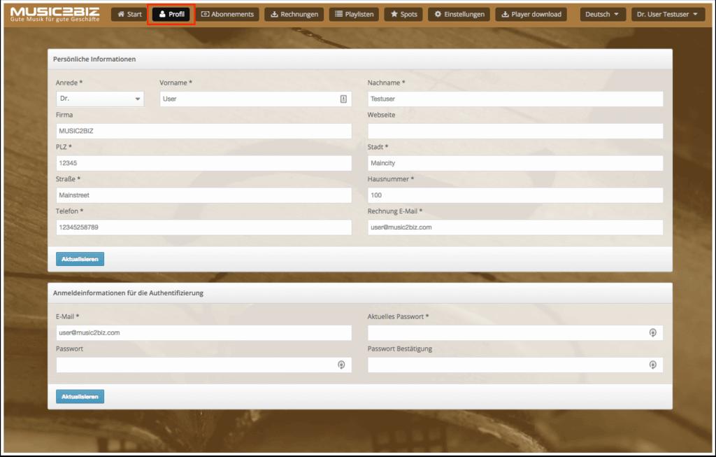 Kundenkonto Profilseite