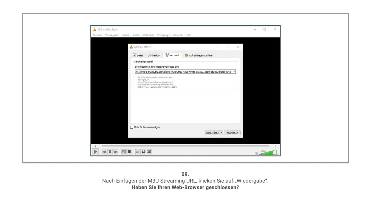 MUSIC2BIZ mit VLC nutzen