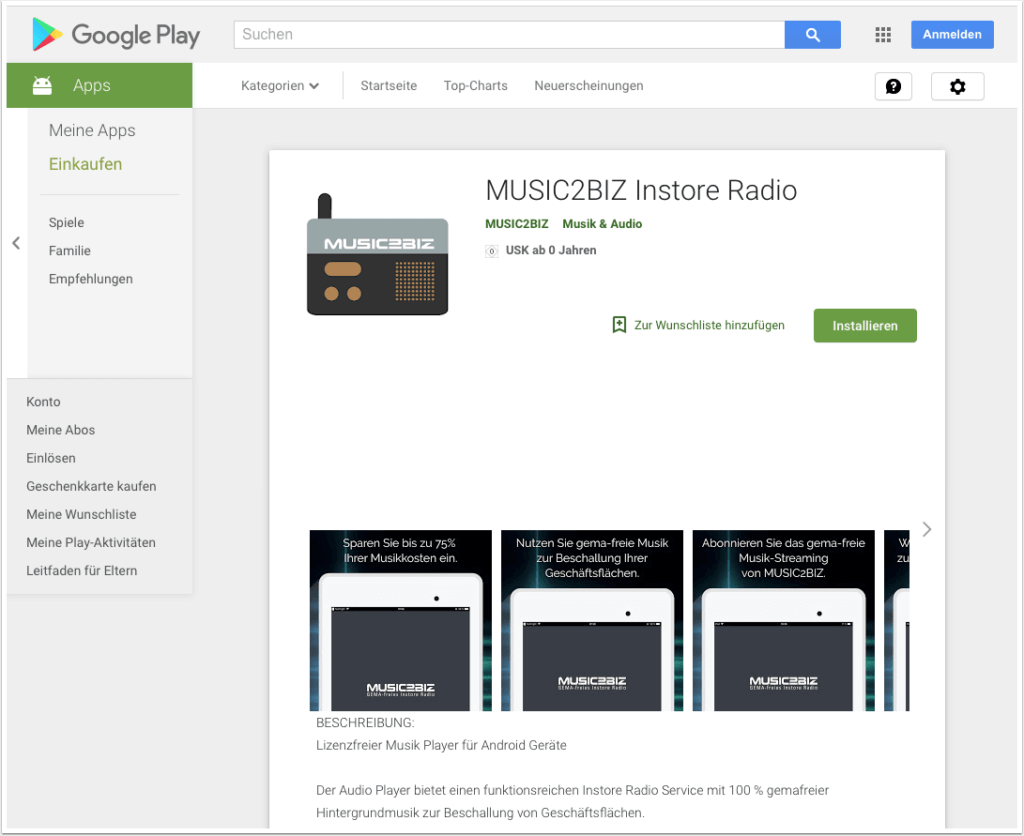 MUSIC2BIZ Player im Android Play Store