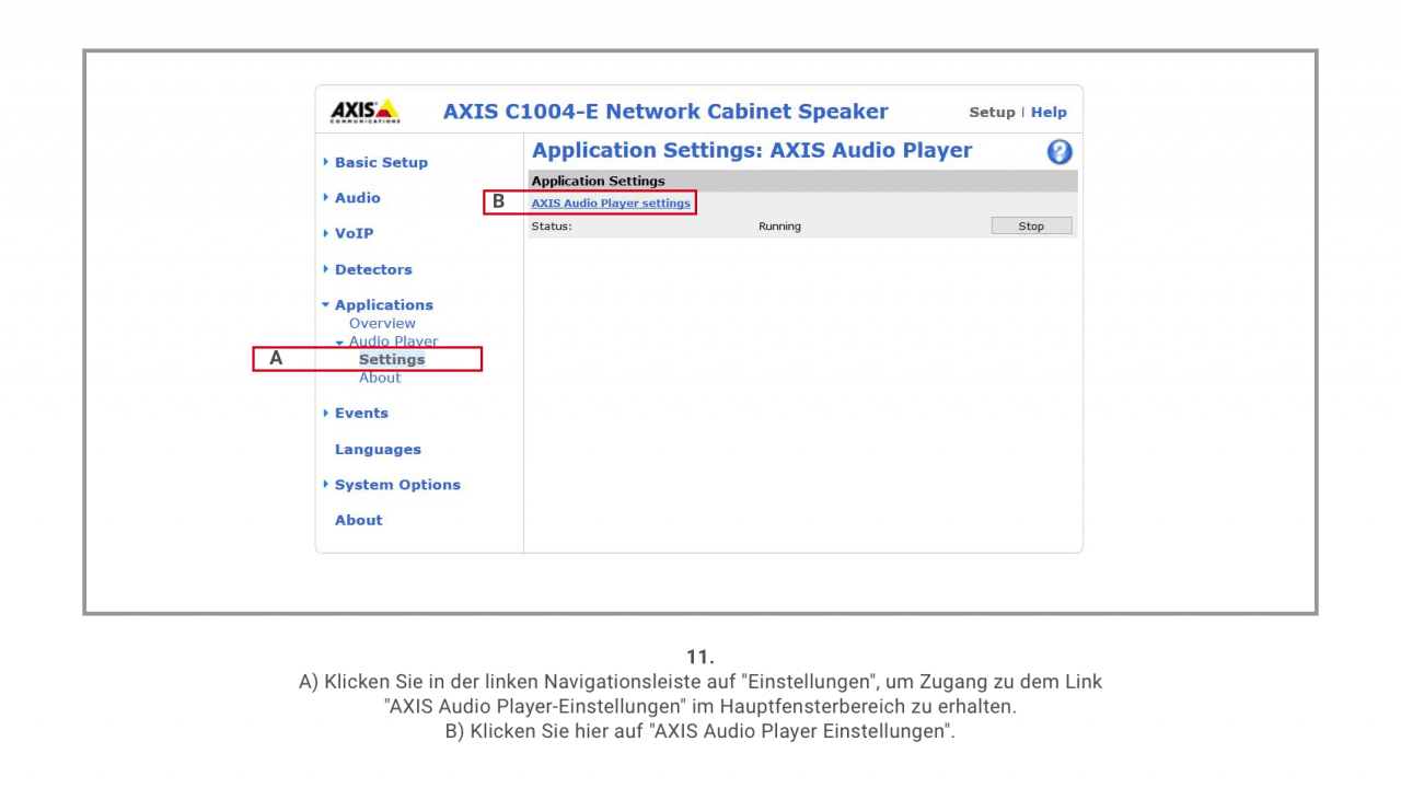 11 Axis Audio Player Settings 1