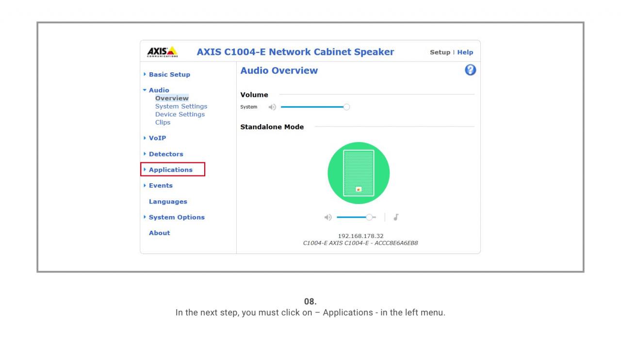 8 Axis Speaker Menu
