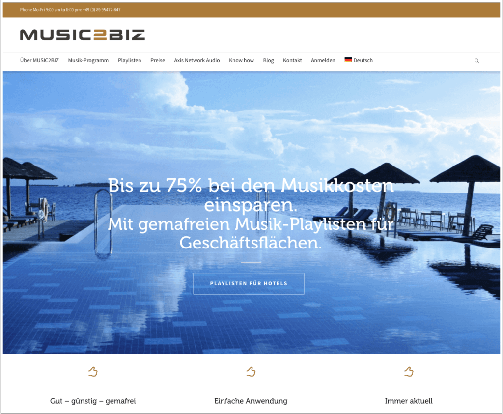 MUSIC2BIZ Homepage DE
