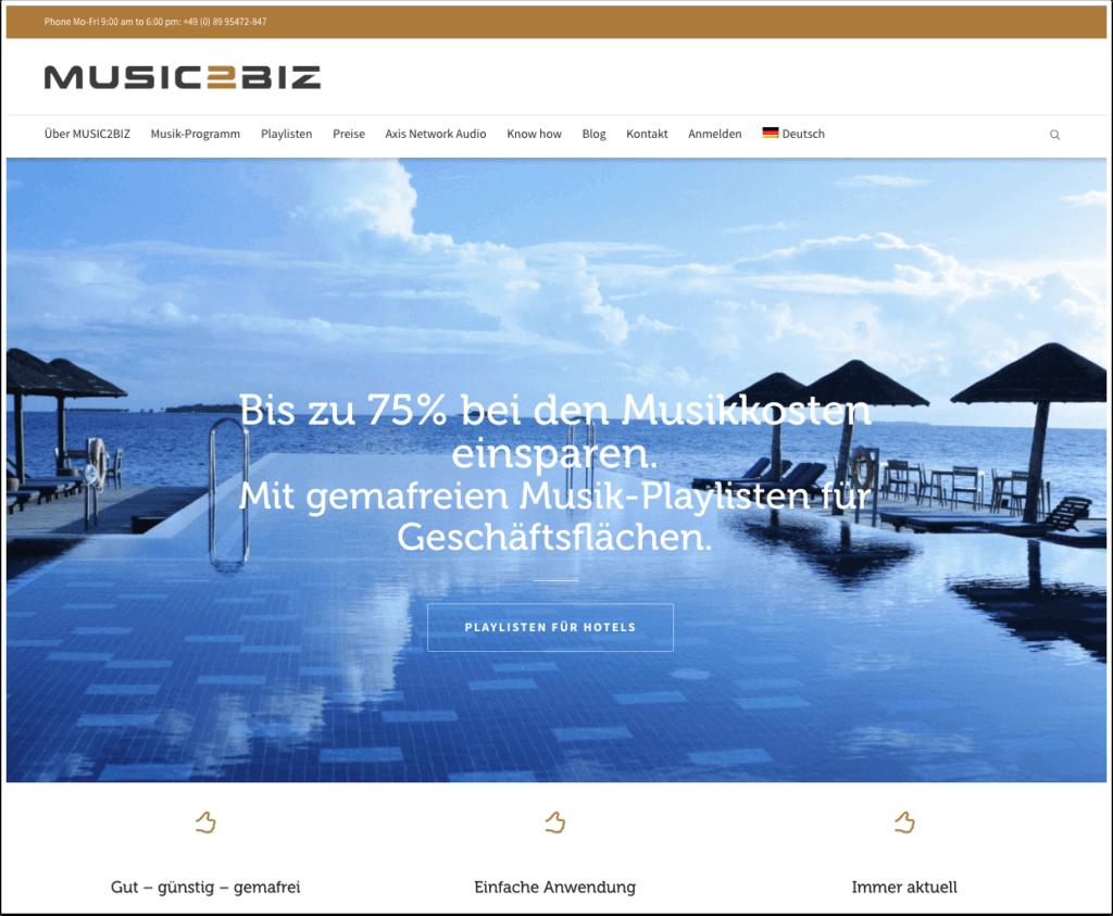 MUSIC2BIZ Homepage DE