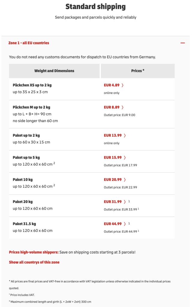 DHL EU shipping cost