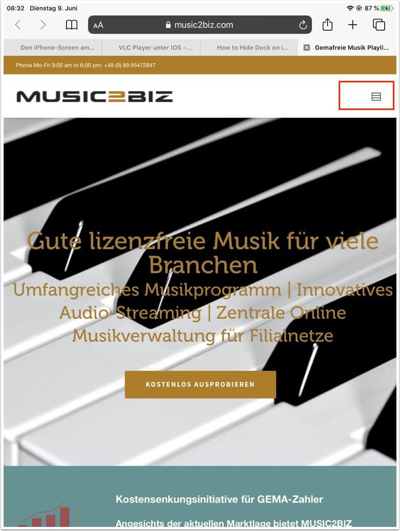 besuchen sie dazu die music2biz webseite unbedingt mit dem safari browser 1 1