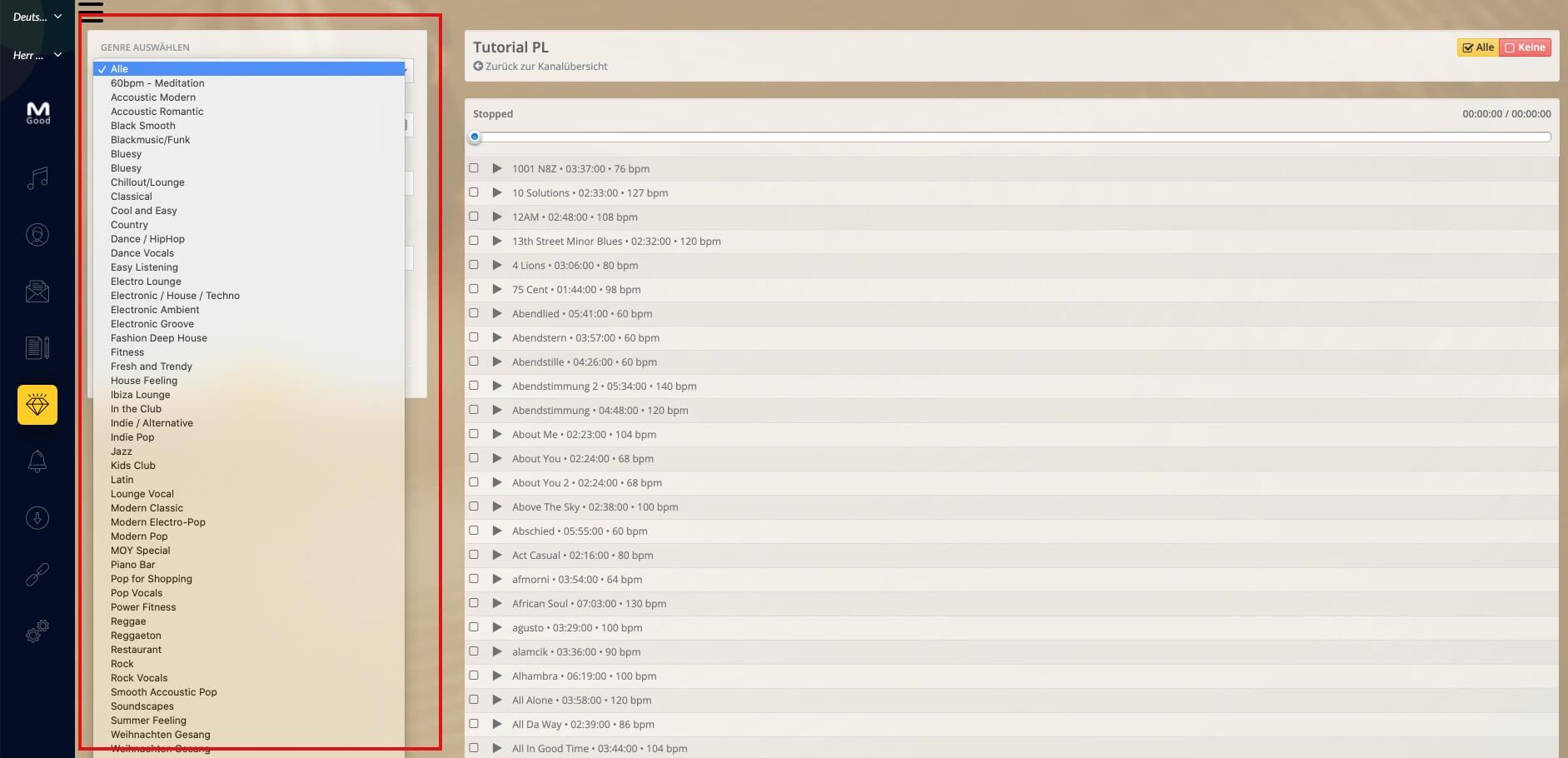 Playlistpage Genres DE