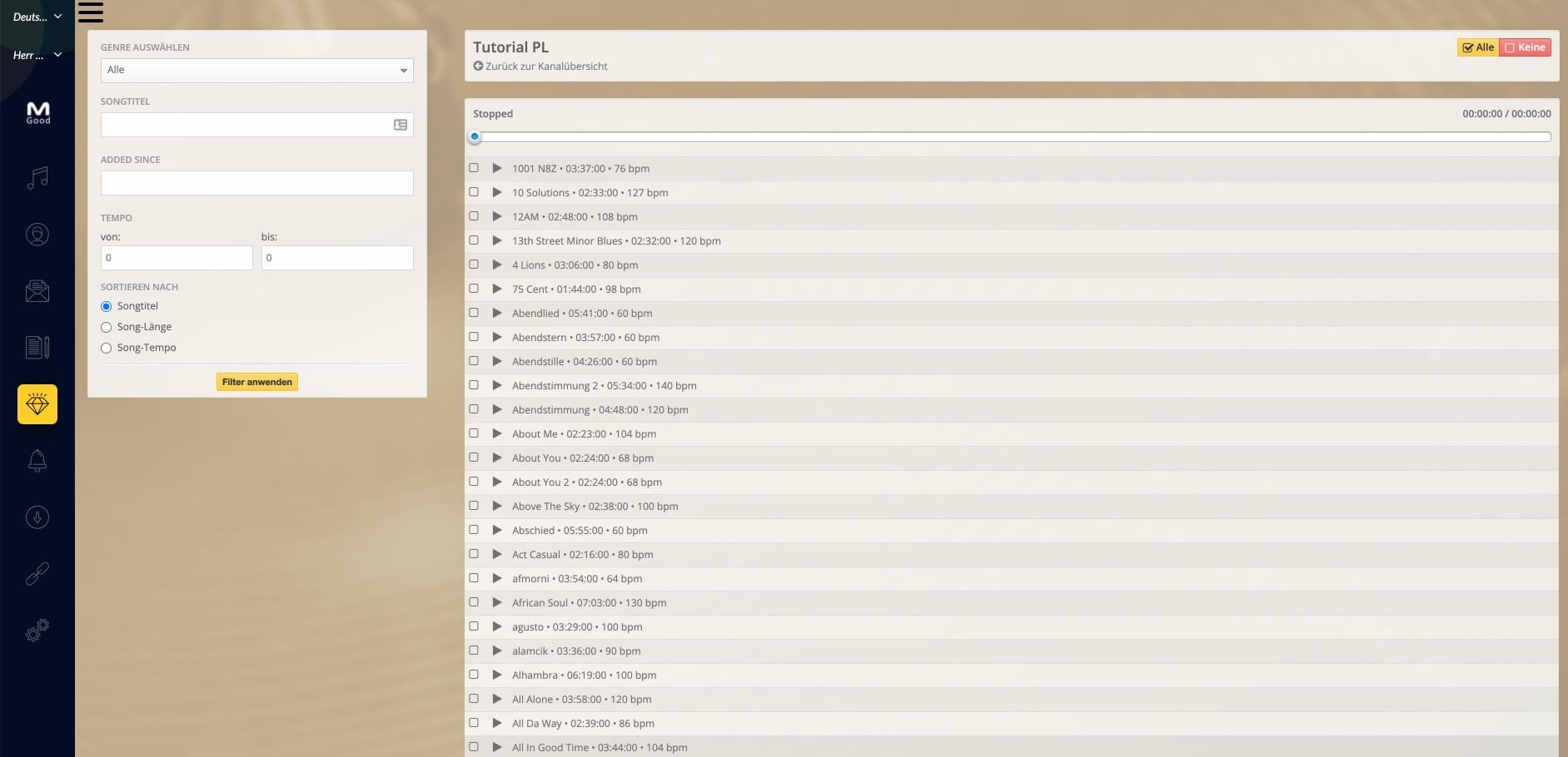 Playlistpage Mix erstellen DE