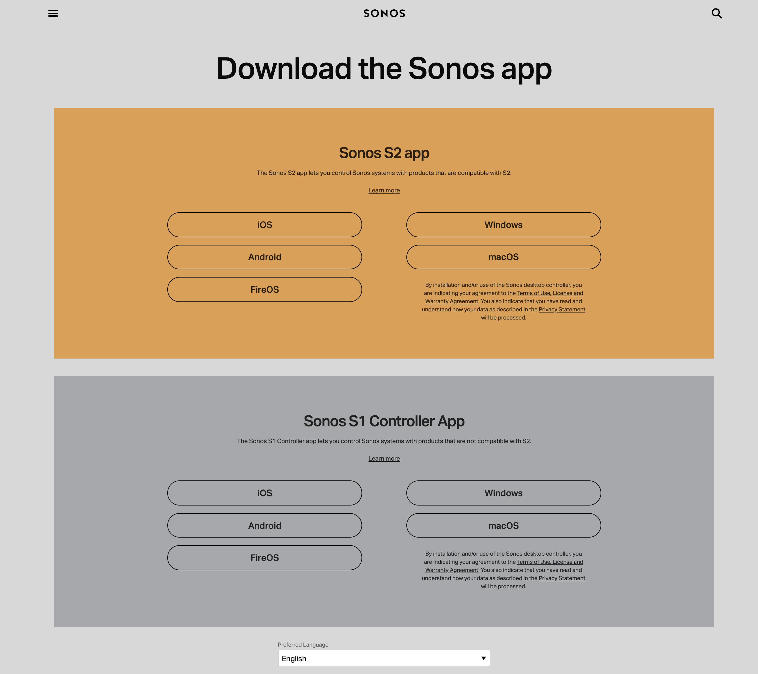 Sonos download page EN