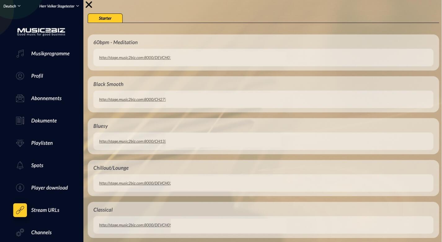 Stream URLs page DE