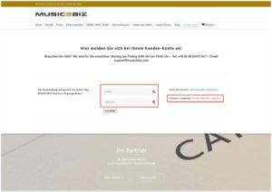 das anmeldefomular auf der music2biz webseite