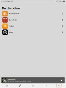 die sonos s2 app ansicht ios ipad