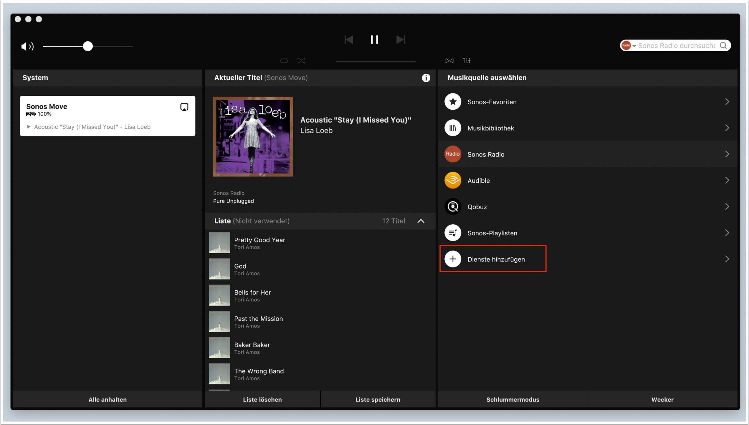 die sonos s2 app ansicht mac os desktop