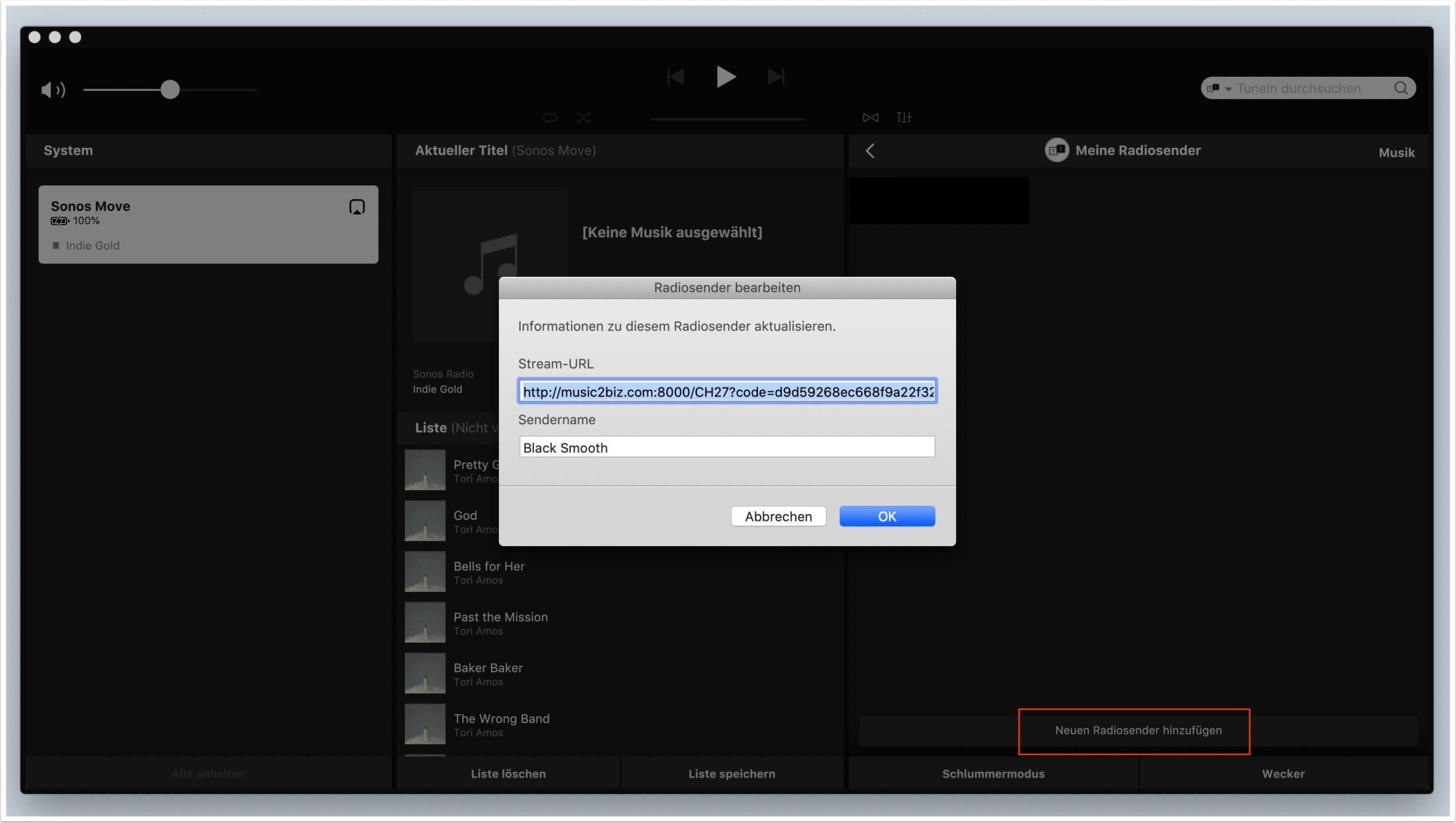 eine music2biz stream url als radiosender abspeichern 1