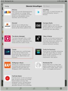 es ouml ffnet sich die liste mit dienst anbietern die in der sonos app aktiviert werden k ouml nne