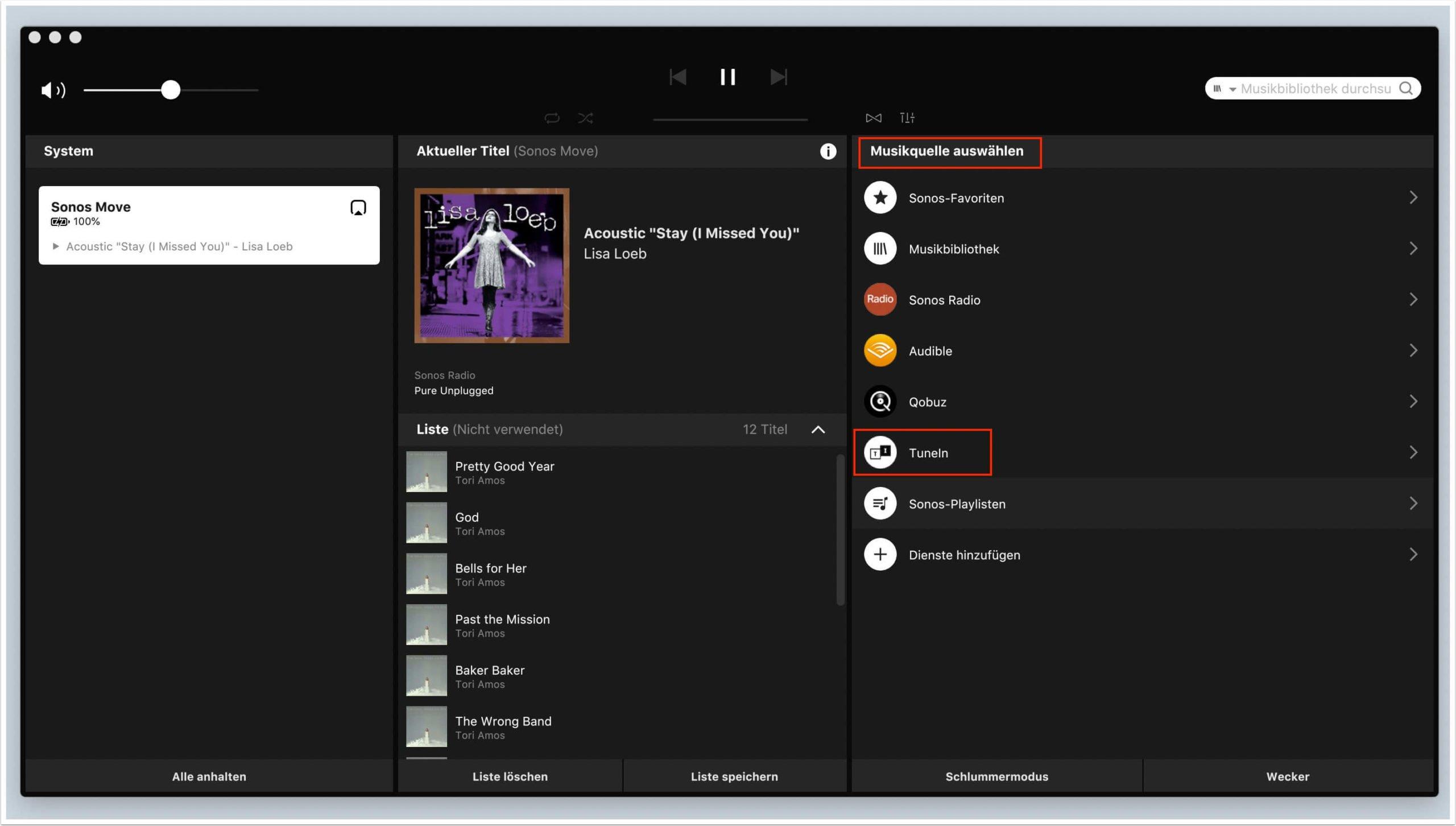 sie haben tunein ihren musikquellen in der sonos app hinzugef uuml gt