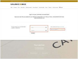 the registration form on the music2biz website