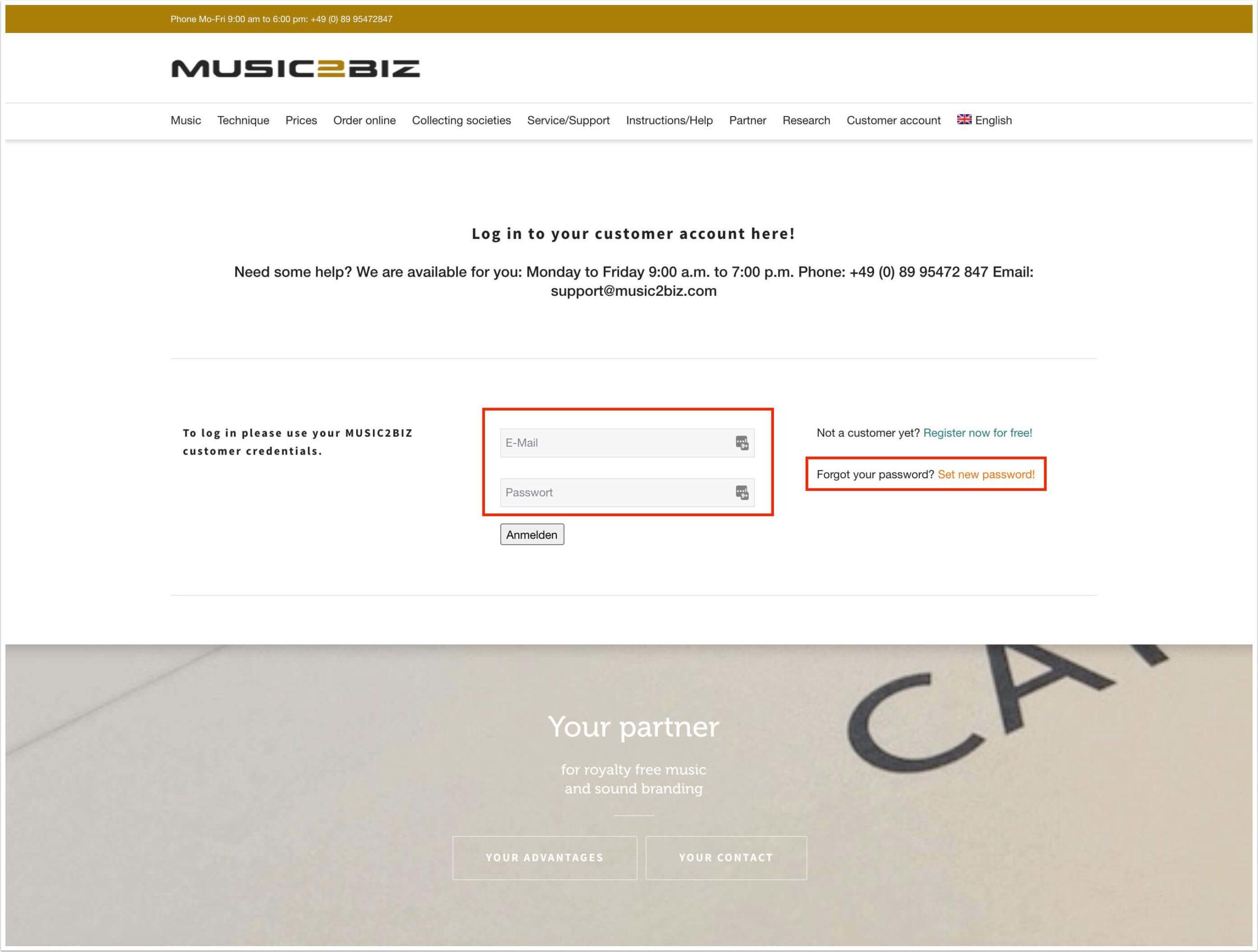 the registration form on the music2biz website
